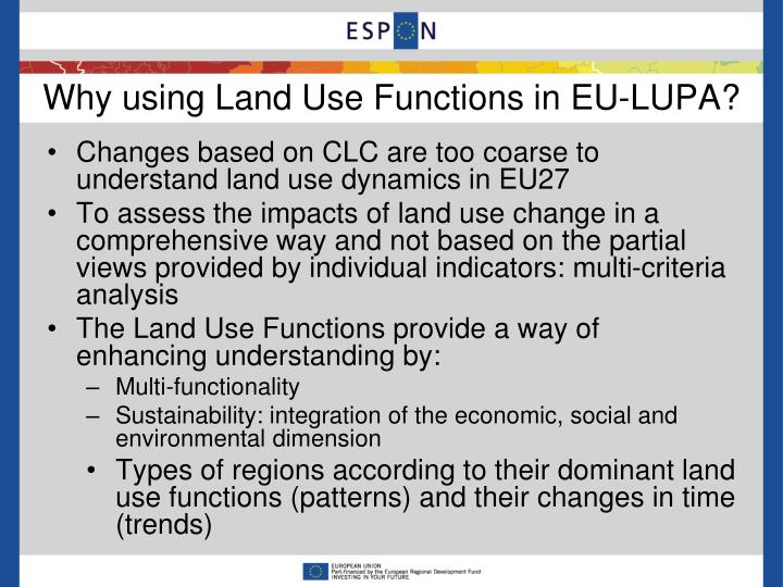 Why using Land Use Functions in EU-LUPA?