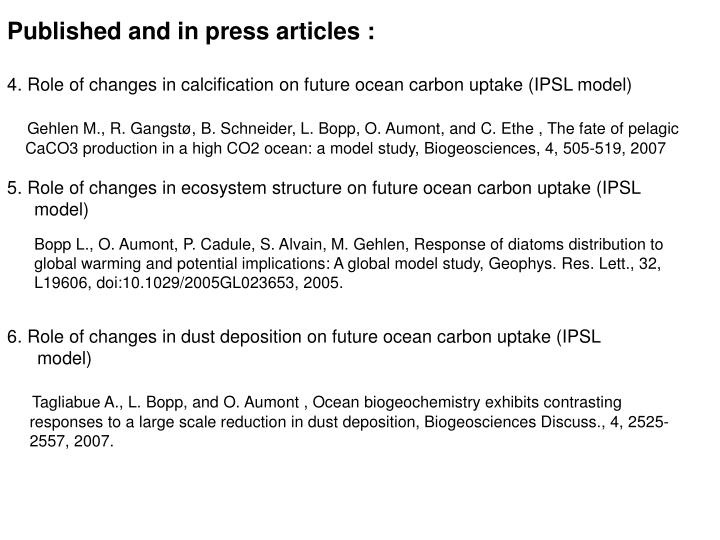 Published and in press articles :