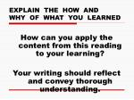 explain the how and why of what you learned