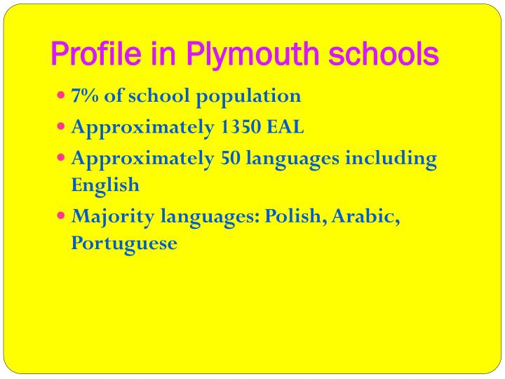 Profile in Plymouth schools