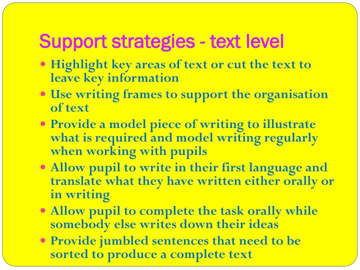 Support strategies - text level