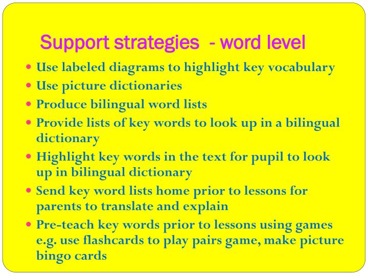 Support strategies  - word level