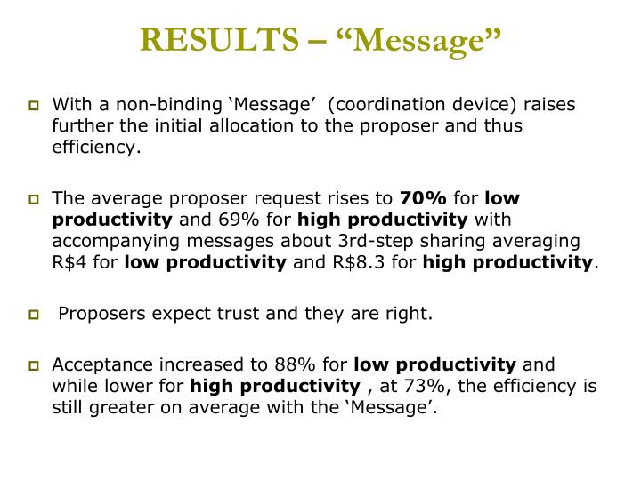 "RESULTS – ""Message"""