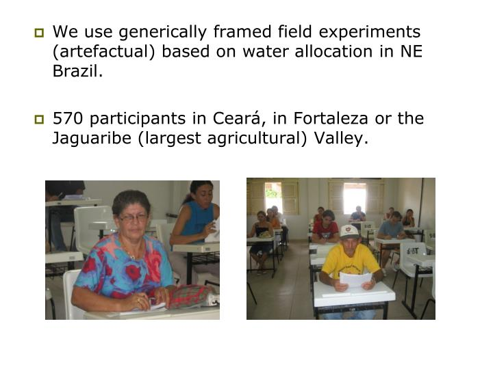 We use generically framed field experiments (artefactual) based on water allocation in NE Brazil.