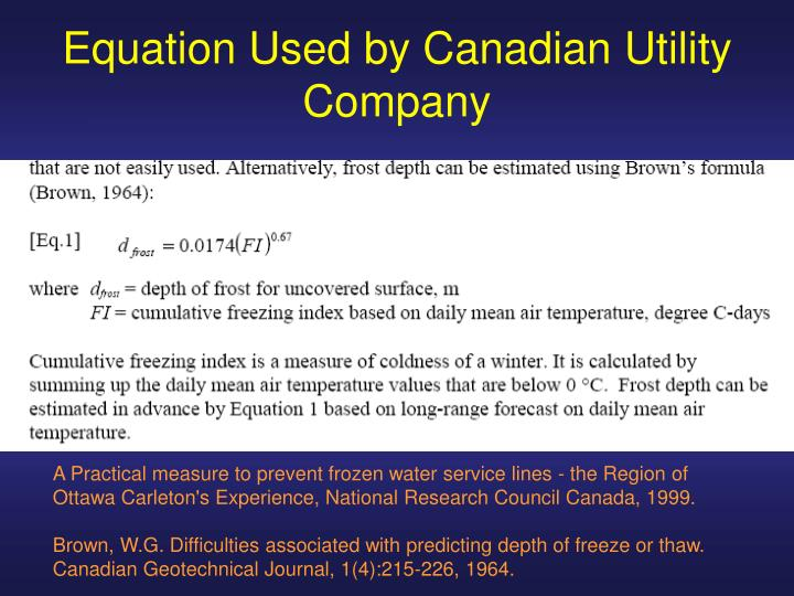 Equation Used by Canadian Utility Company