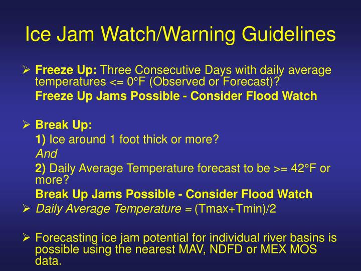 Ice Jam Watch/Warning Guidelines