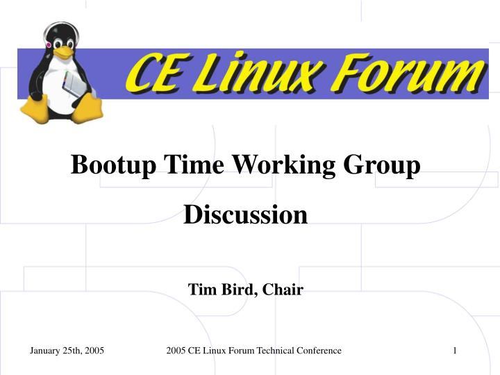 Bootup Time Working Group