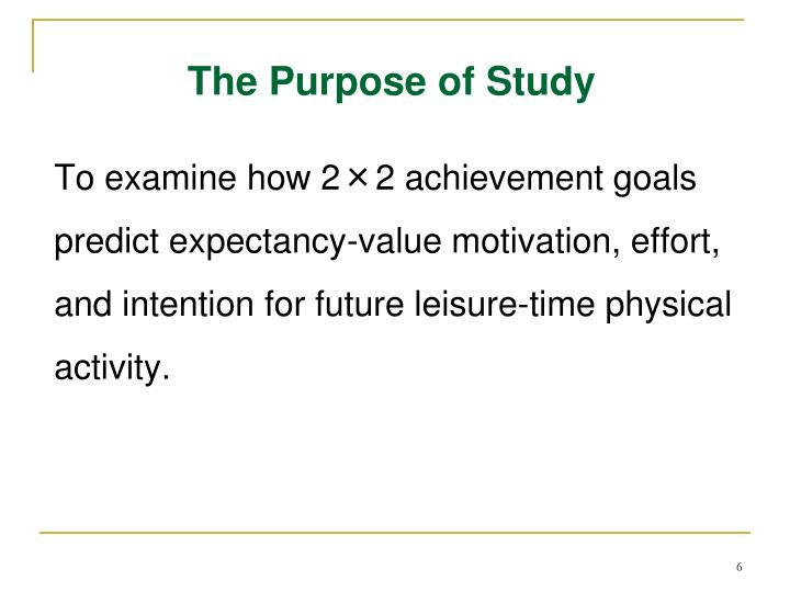 The Purpose of Study