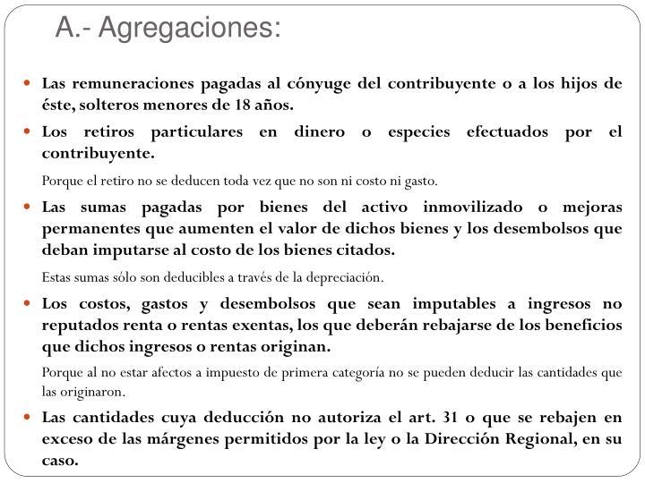 A.- Agregaciones: