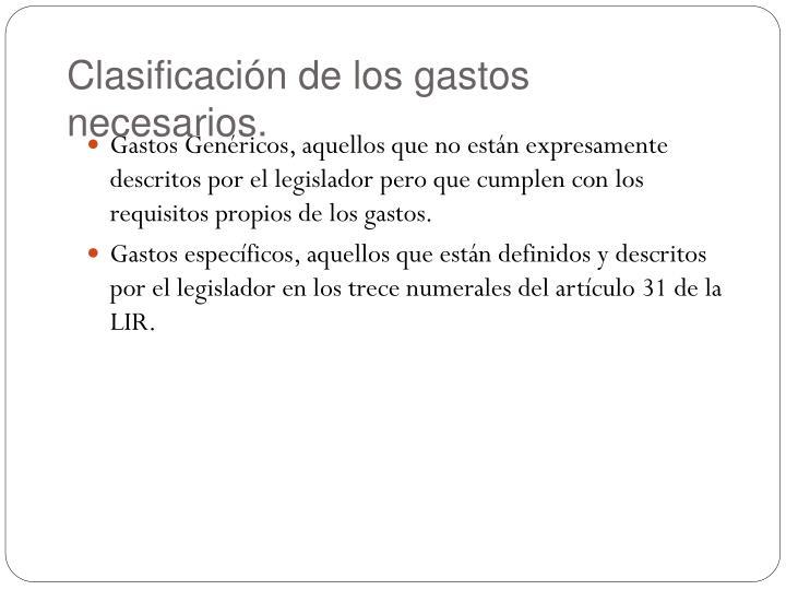 Clasificación de los gastos necesarios.