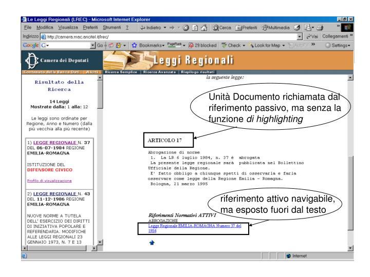 Unità Documento richiamata dal riferimento passivo, ma senza la funzione