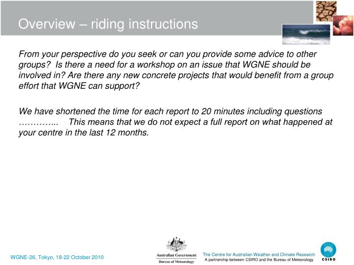 Overview riding instructions