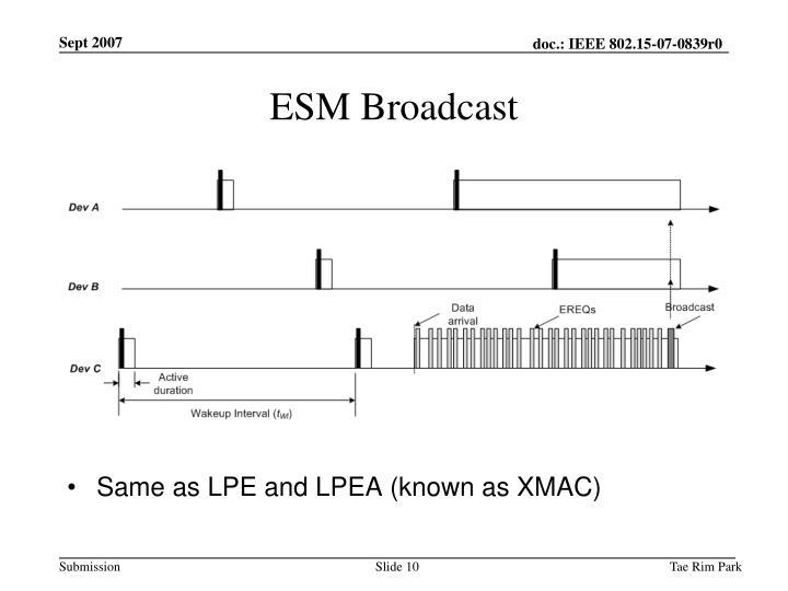 ESM Broadcast