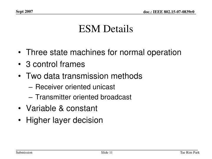 ESM Details