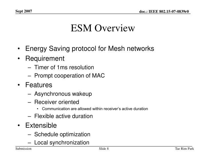 ESM Overview