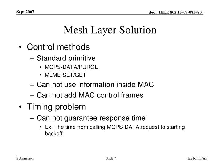 Mesh Layer Solution