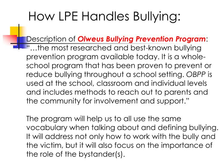 How LPE Handles Bullying: