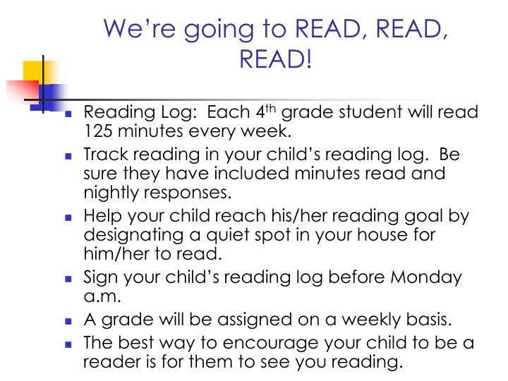 We're going to READ, READ, READ!