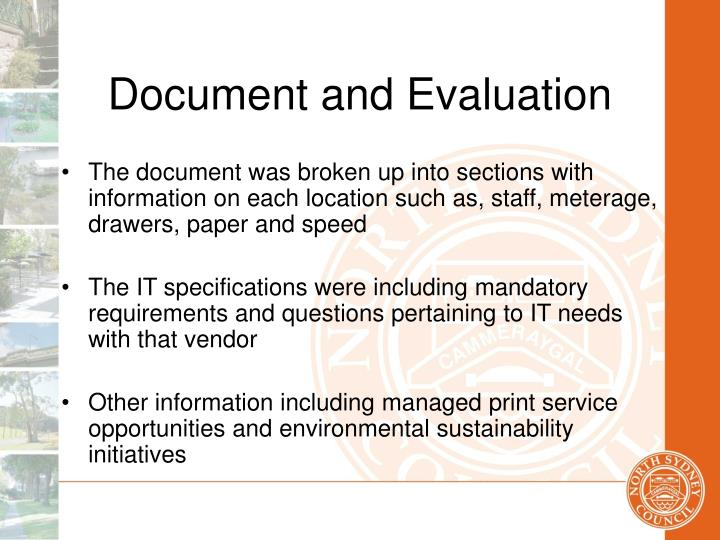 Document and Evaluation