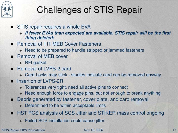 Challenges of STIS Repair