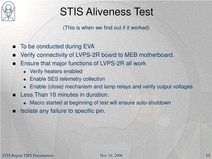 STIS Aliveness Test
