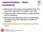 implementation work breakdown