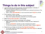 things to do in this subject
