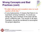 wrong concepts and bad practices cont