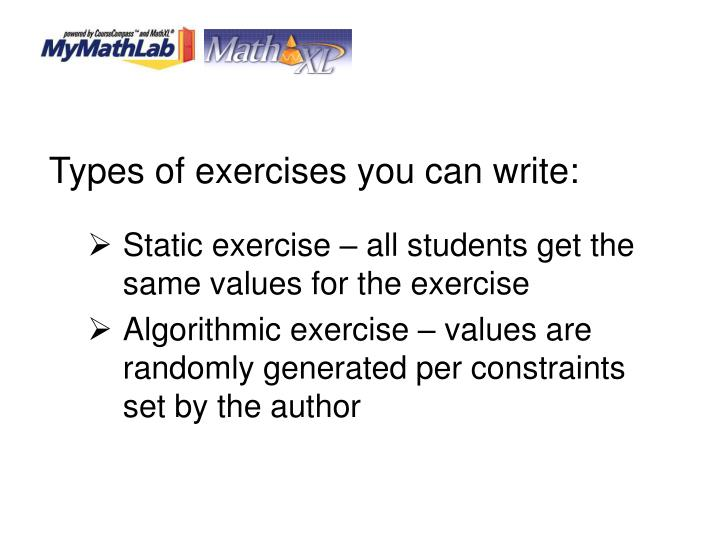 Types of exercises you can write: