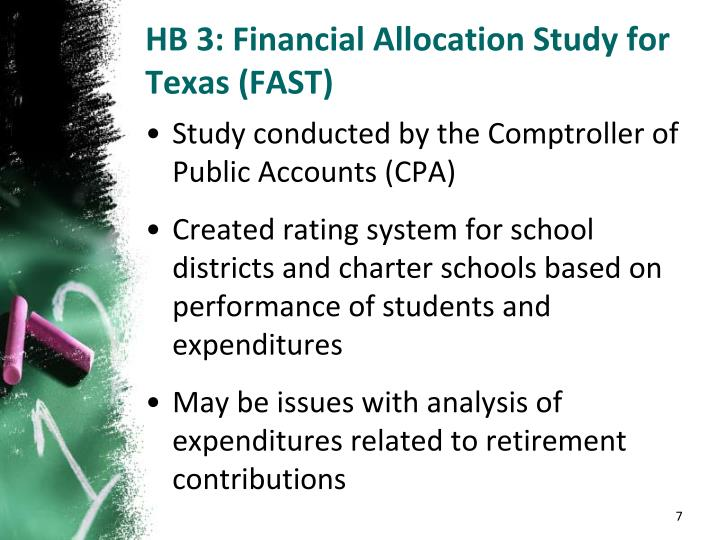 HB 3: Financial Allocation Study for Texas (FAST)