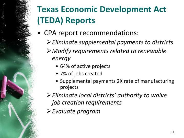Texas Economic Development Act (TEDA) Reports