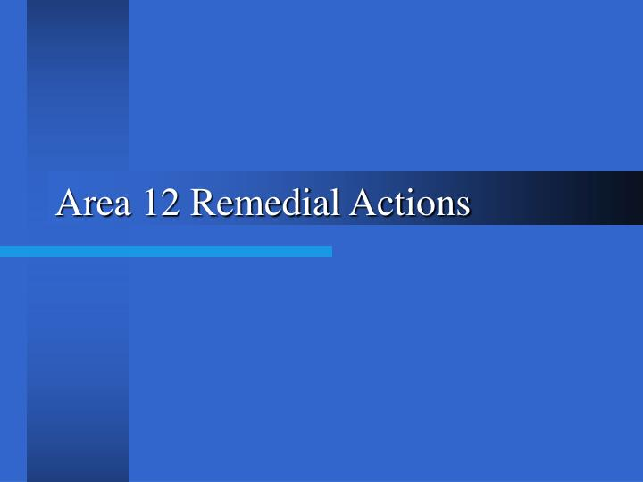 Area 12 Remedial Actions