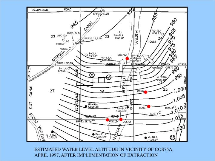 ESTIMATED WATER LEVEL ALTITUDE IN VICINITY OF COS75A,  APRIL 1997, AFTER IMPLEMENTATION OF EXTRACTION
