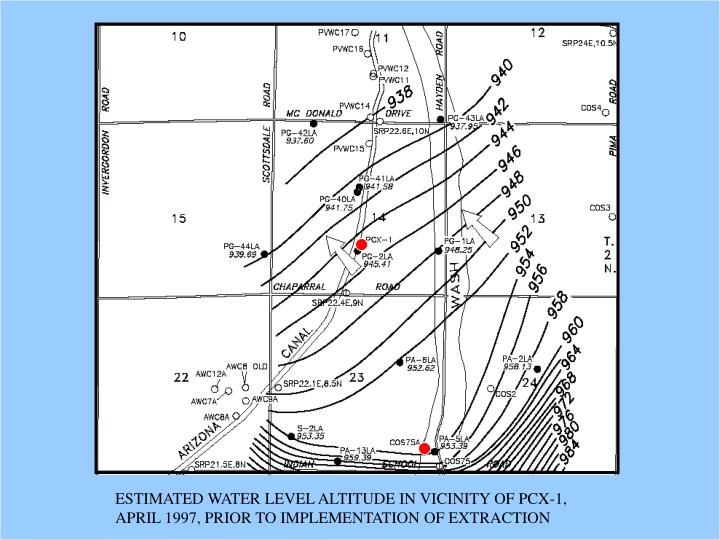 ESTIMATED WATER LEVEL ALTITUDE IN VICINITY OF PCX-1,  APRIL 1997, PRIOR TO IMPLEMENTATION OF EXTRACTION