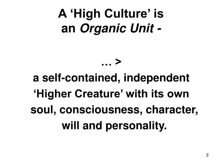A 'High Culture' is