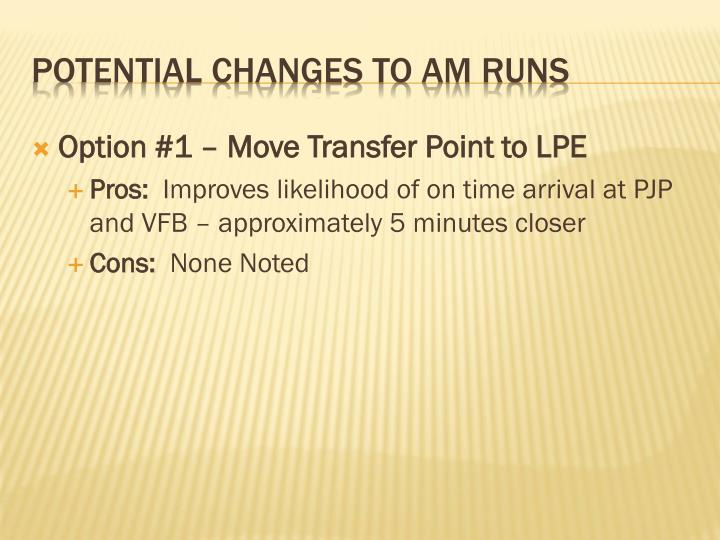 Option #1 – Move Transfer Point to LPE
