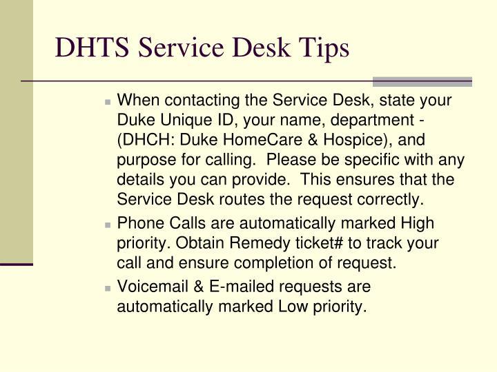 DHTS Service Desk Tips