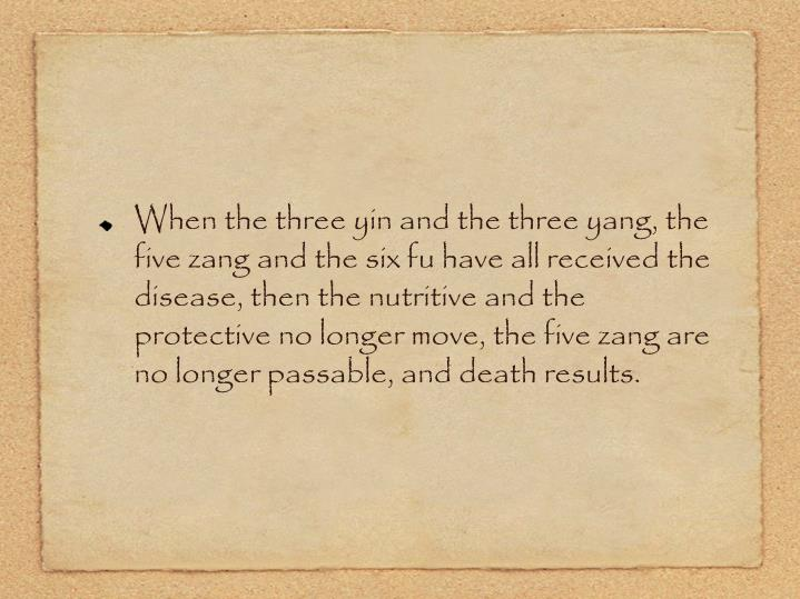 When the three yin and the three yang, the five zang and the six fu have all received the disease, then the nutritive and the protective no longer move, the five zang are no longer passable, and death results.
