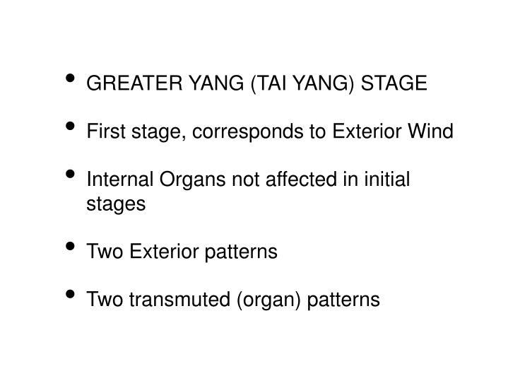 GREATER YANG (TAI YANG) STAGE