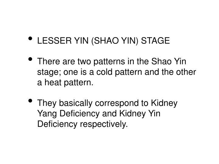 LESSER YIN (SHAO YIN) STAGE