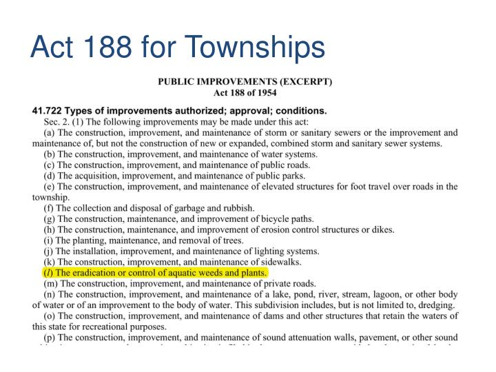 Act 188 for Townships