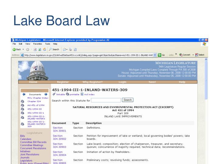 Lake Board Law