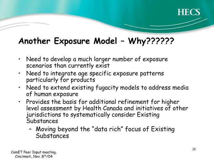 Another Exposure Model – Why??????