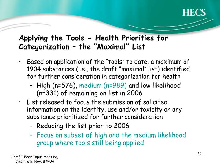 """Applying the Tools - Health Priorities for Categorization – the """"Maximal"""" List"""