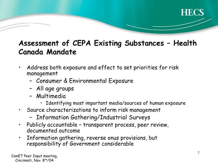 Assessment of CEPA Existing Substances – Health Canada Mandate