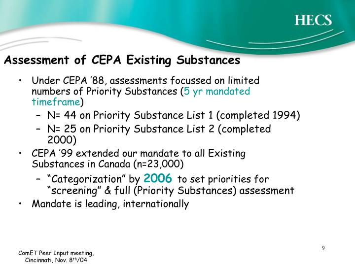 Assessment of CEPA Existing Substances