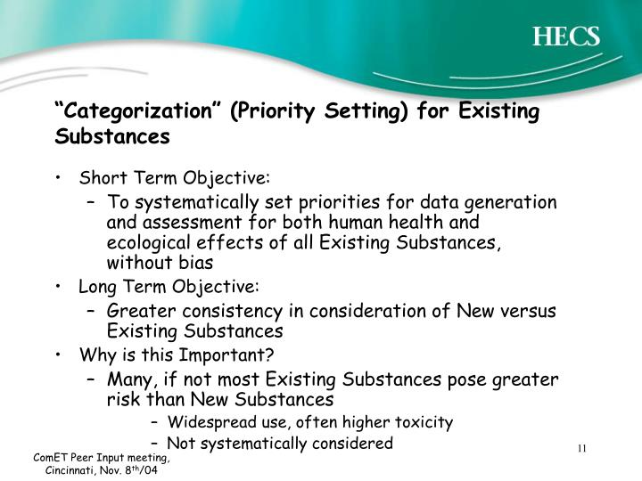 """""""Categorization"""" (Priority Setting) for Existing Substances"""