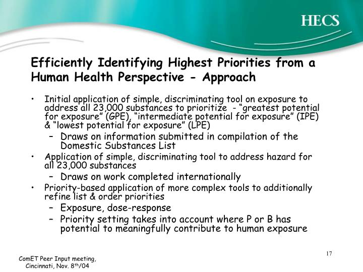 Efficiently Identifying Highest Priorities from a Human Health Perspective - Approach