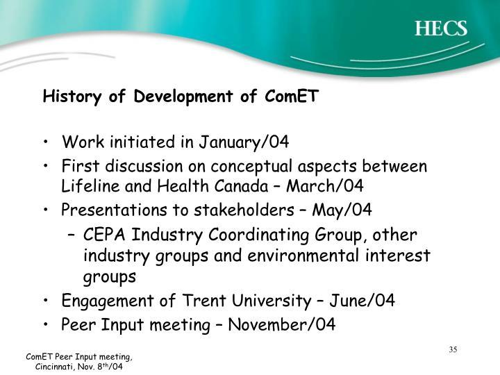 History of Development of ComET