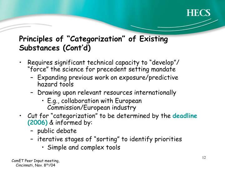 "Principles of ""Categorization"" of Existing Substances (Cont'd)"